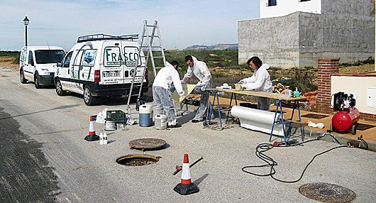 Gráfico del funcionamiento de un packer neumático para rehabilitación de tuberías
